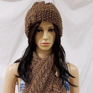 #705 Handmade SCARF & HAT set *Hand Knit *brown